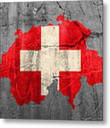 Switzerland Flag Country Outline Painted On Old Cracked Cement Metal Print