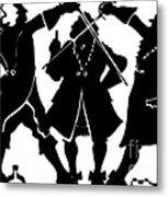 Sword Duel Silhouette  Metal Print
