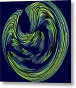 Swriled Green And Blues Metal Print