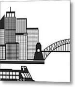 Sydney Australia Skyline Black And White Illustration Metal Print