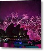 Sydney Fireworks - Purple Metal Print