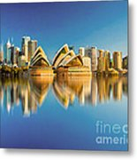 Sydney Skyline With Reflection Metal Print