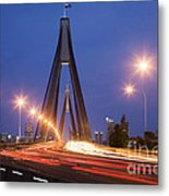 Sydney Traffic And Anzac Bridge At Twilight Metal Print by Colin and Linda McKie