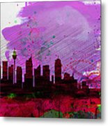 Sydney Watercolor Skyline 2 Metal Print