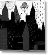 Symbolic Image Of A Megacity With A Metal Print