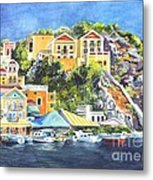 Symi Harbor The Grecian Isle  Metal Print by Carol Wisniewski
