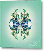 Symmetrical Orchid Art - Blues And Greens Metal Print