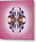 Symmetrical Orchid Art - Reds Metal Print