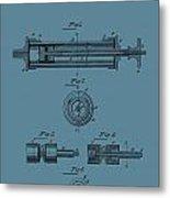 Syringe Patent Drawing Blue Metal Print