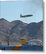 T-33 Shooting Star Flight Over Two Sabre's Metal Print