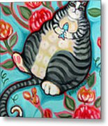Tabby Cat On A Cushion Metal Print