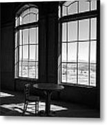 Table And Chair And The Windows Metal Print