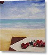 Table At The Beach Metal Print