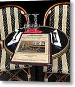 Table For Two In Paris Metal Print