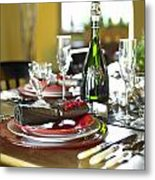 Table Setting With Red And White Metal Print