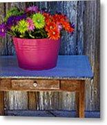 Table Top Flowers Metal Print