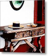 Table With Hat And Book Metal Print