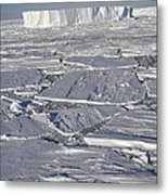 Tabular Icebergs Among Broken Fast Ice Metal Print