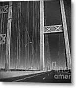 Tacoma Narrows Bridge B W Metal Print