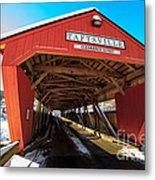 Taftsville Covered Bridge In Vermont In Winter Metal Print