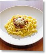Tagliatelle Bolognese Sauce With Parmesan Metal Print