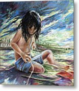 Tahitian Boy With Knife Metal Print