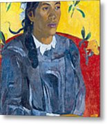 Tahitian Woman With A Flower Metal Print