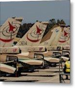Tail Fins Of Israeli Air Force F-16`s Metal Print