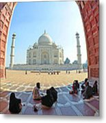 Taj Mahal In Fisheye Metal Print