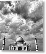 Taj Mahal India In Black And White Metal Print