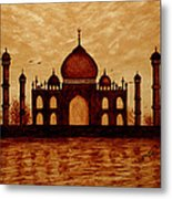 Taj Mahal Lovers Dream Original Coffee Painting Metal Print