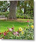Take A Seat - Beautiful Rose Garden Of The Huntington Library. Metal Print