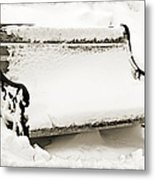 Take A Seat  And Chill Out - Park Bench - Winter - Snow Storm Bw 2 Metal Print