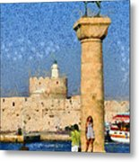 Taking Pictures At The Entrance Of Mandraki Port Metal Print