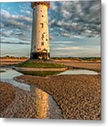 Talacre Lighthouse Sunset Metal Print