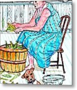 Talking To The Dog - Sitting On The Front Porch Metal Print by Philip Bracco