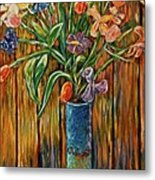 Tall Blue Vase Metal Print
