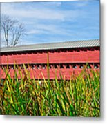 Tall Grass And Sachs Covered Bridge Metal Print