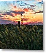 Tall Grass Windmill Metal Print