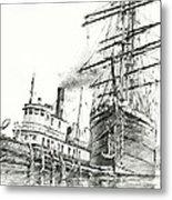 Tall Ship Assist Metal Print