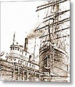 Tall Ship Assist Sepia Metal Print