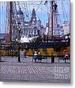 Tall Ship At Albert Dock Metal Print