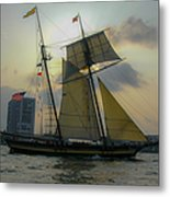 Tall Ship Chasing The Sun Metal Print