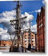 Tall Ship In Gloucester Docks Metal Print