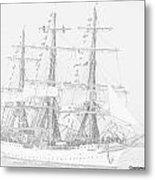 Tall Ship In Lead Metal Print