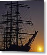 Tall Ship Silhouetted Metal Print