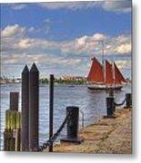 Tall Ship The Roseway In Boston Harbor Metal Print by Joann Vitali