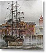 Tall Ship Waterfront Metal Print