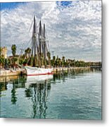 Tall Ships And Palm Trees - Impressions Of Barcelona Metal Print