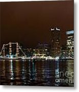 Tall Ships At Night Panorama Set Panel 1 Metal Print